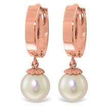 4 CTW 14K Solid Rose Gold Hoop Earrings Natural pearl - $140.15