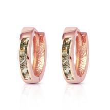1.3 CTW 14K Solid Rose Gold Hoop Earrings Natural Green Sapphire - $255.07