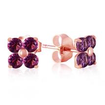 1.15 Carat 14K Solid Rose Gold Diana Amethyst Stud Earrings - $118.72