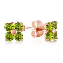 1.15 Carat 14K Solid Rose Gold Diana Peridot Stud Earrings - $118.72