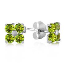 1.15 Carat 14K Solid White Gold Glimmering Smile Peridot Earrings - $116.16