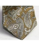 UNICEF 100% Silk Mens Necktie Tie Metallic Gold Paisley Design - $8.04