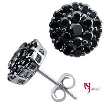 1 Carat Fancy Black Round Diamond Stud Push Back Earrings 14K White Gold - $494.01
