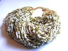 WHITE & GOLD SEEDBEAD 80 STRAND BRACELET TIBETAN GOLD END CAPS EXOTIC CH... - $11.57