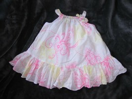 BABY GAP WHITE HOT PINK YELLOW PRINTED RUFFLE SWING FULL DRESS SUMMER EA... - $14.10