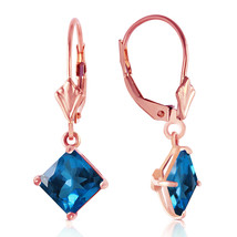 3.2 Carat 14K Solid Rose Gold Blue Topaz Simplicity Earrings - $185.29