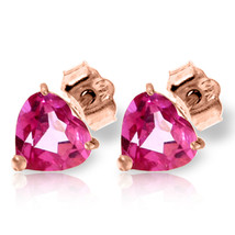 3.25 CTW 14K Solid Rose Gold Stud Earrings Natural Pink Topaz - $126.14