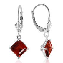 3.2 Carat 14K Solid White Gold Smile From The Heart Garnet Earrings - $182.73