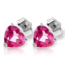 3.25 CTW 14K Solid White Gold Stud Earrings Natural Pink Topaz - $123.59