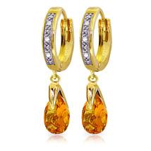 2.53 Carat 14K Solid Gold Hoop Earrings Diamond Citrine - $345.02