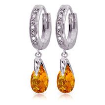 2.53 Carat 14K Solid White Gold Hoop Earrings Diamond Citrine - $349.30