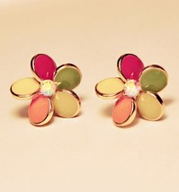 Lovely Colored Flower Petals Stud Earrings - $7.99