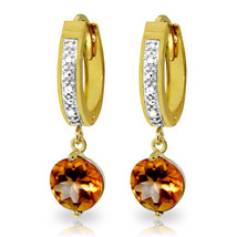 2.53 CTW 14K Solid Gold Organza Citrine Diamond Earrings - $324.18