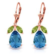 13 Carat 14K Solid Rose Gold Belle Blue Topaz Peridot Earrings - $368.49