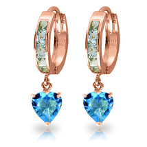4.1 CTW 14K Solid Rose Gold Hoop Blue Topaz Heart Drop Earrings - $315.76