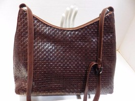 Vintage Woven Leather GEM Handbag Dark Brown - $19.34