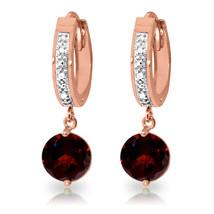 2.53 Carat 14K Solid Rose Gold Hoop Earrings Diamond Garnet - $331.02