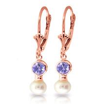 5.2 Carat 14K Solid Rose Gold Leverback Earrings pearl Tanzanite - $253.16