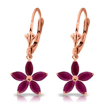 2.8 Carat 14K Solid Rose Gold Leverback Earrings Natural Ruby - $337.29
