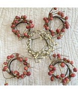 Beaded Candle Rings Wreath Pumpkin Pips Set of 5 Fall Autumn Thanksgiving - $29.69