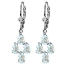 3.9 CTW 14K Solid White Gold Attain Goodness Aquamarine Earrings - $311.12