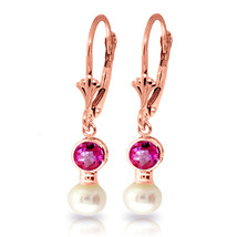 2.7 Carat 14K Solid Rose Gold Leverback Earrings pearl Pink Topaz - $218.06