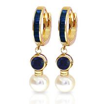 6.65 Carat 14K Solid Gold Huggie Earrings pearl Sapphire - $333.32