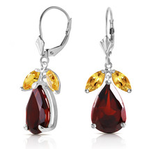 13 Carat 14K Solid White Gold Leverback Earrings Citrine Garnet - $424.49
