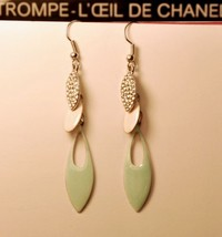 Lacquered Leaf with Gem Water Drop Tassel Earrings(Light green) - $7.99