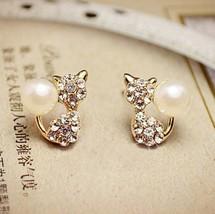 Rhinestone Kitty Earrings - $7.59