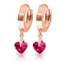 1.5 CTW 14K Solid Rose Gold Hoop Earrings Pink Topaz - $160.88
