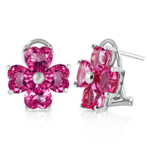 7.6 Carat 14K Solid White Gold French Clips Earrings Natural Pink Topaz - $494.72