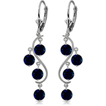 4 Carat 14K Solid White Gold Chandelier Earrings Natural Sapphire - $382.50