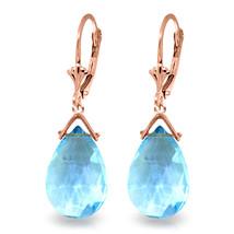 10.2 Carat 14K Solid Rose Gold Blue Topaz Joy Earrings - $177.71