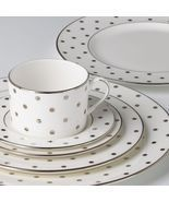 Lenox  Kate Spade Larabee Road Platinum Dot 5P Place Setting China Set New - $119.99