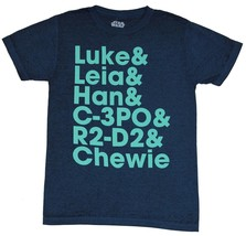 Star Wars Mens T-Shirt - Luke, Leia, Han,C-3PO, R2-D2, Chewie Names Writ... - $15.99
