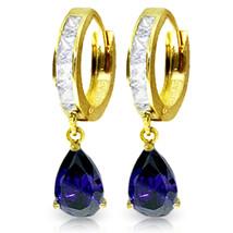 4.55 Carat 14K Solid Gold Hoop Earrings White Topaz Sapphire - $379.76
