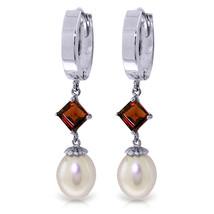 9.5 Carat 14K Solid White Gold Hoop Earrings Natural pearl Garnet - $319.94