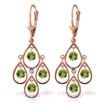 2.4 Carat 14K Solid Rose Gold Peridot Tiered Earrings - $331.41