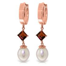 9.5 Carat 14K Solid Rose Gold Hoop Earrings Natural pearl Garnet - $322.51