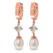 9.5 Carat 14K Solid Rose Gold Hoop Earrings Natural pearl Aquamarine - $331.06