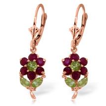 2.12 Carat 14K Solid Rose Gold Flowers Earrings Ruby Peridot - $280.87