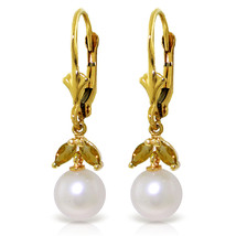 4.4 Carat 14K Solid Gold Leverback Earrings pearl Citrine - $146.66