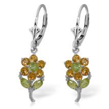 2.12 Carat 14K Solid White Gold Flowers Earrings Citrine Peridot - $255.60