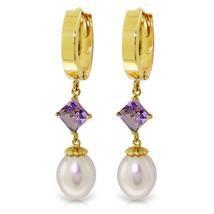 9.5 Carat 14K Solid Gold Hoop Earrings Natural pearl Amethyst - $315.67