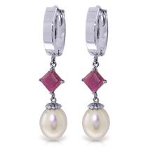 9.5 Carat 14K Solid White Gold Hoop Earrings Natural pearl Ruby - $365.36