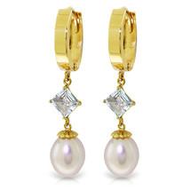 9.5 Carat 14K Solid Gold Hoop Earrings Natural pearl Aquamarine - $324.22