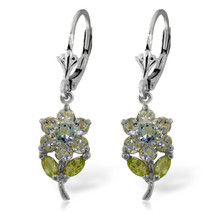 2.12 Carat 14K Solid White Gold Flowers Earrings Aquamarine Peridot - $284.75