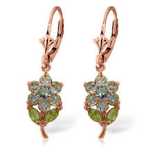 2.12 Carat 14K Solid Rose Gold Flowers Earrings Aquamarine Peridot - $287.33