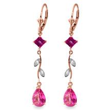 3.97 Carat 14K Solid Rose Gold Chandelier Earrings Diamond Pink Topaz - $280.22